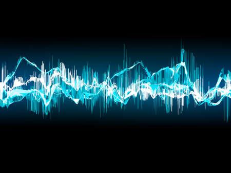 어두운 파란색 배경에 밝은 사운드 웨이브. EPS 10 벡터 파일 포함