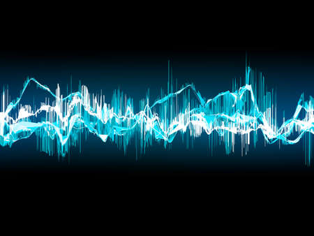 volume glow light: Bright sound wave on a dark blue background. EPS 10 vector file included