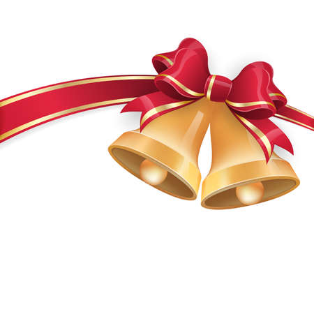 Jingle bells with red ribbon bow on festive background.