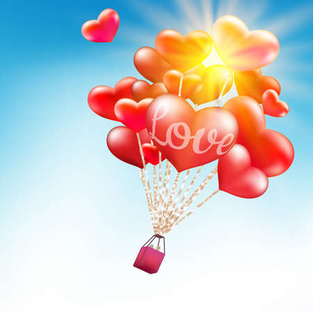 hot couple: Valentines day greeting card design - Couple in hot air hearts balloons.