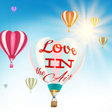 hot couple: Valentines day greeting card design - Couple in hot air hearts balloons. EPS 10 vector file included