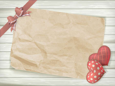 Blank old piece of paper and vintage handmaded valentines day toy heart over wooden background.  Vector