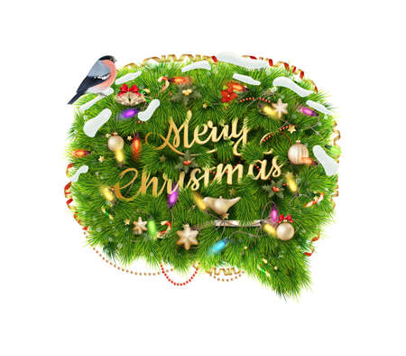Merry Christmas Speech Bubble, Isolated On White Background. EPS 10 vector file included Vector