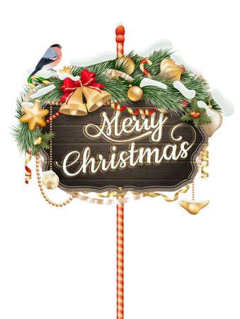 type: Christmas type design with snowflakes.  Illustration