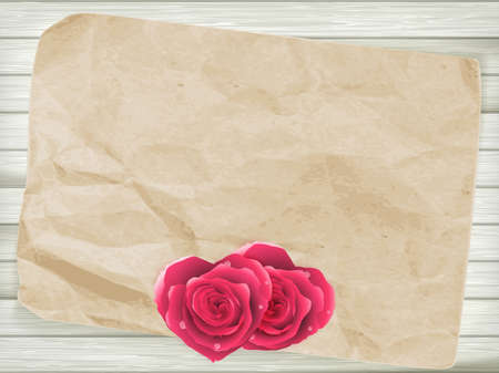 paper textures: Card with flowers hearts shape for retro invitations design. Old paper textures for vintage design. EPS 10 vector file included