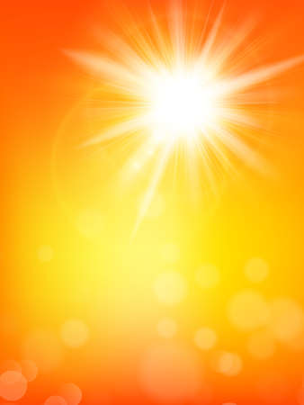 Summer background with a summer sun burst with lens flare.    Vectores