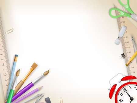 School supplies on white background ready for your design.   Ilustração