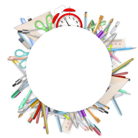 School supplies on white background with copyspace. EPS 10 vector file included Illustration
