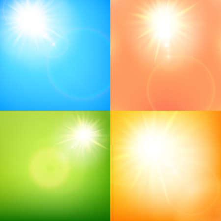 Summer sun burst with lens flare Set.