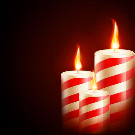 candid: Three yellow red candles on dark background.vector file included