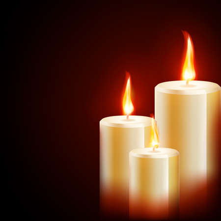 alone in the dark: Three yellow red candles on dark background. vector file included