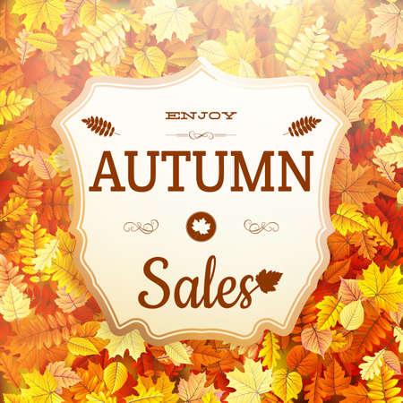 Autumn sale vntage signboard. Illustration