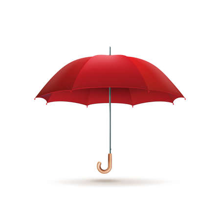 Elegant opened red umbrella isolated.