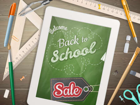 sentence: Tablet with a picture of a chalkboard with the sentence back to school written in it, on a rustic wooden desk with pencil different colors.  Illustration