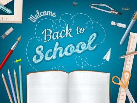 fournitures scolaires: Retour à l'école fond.