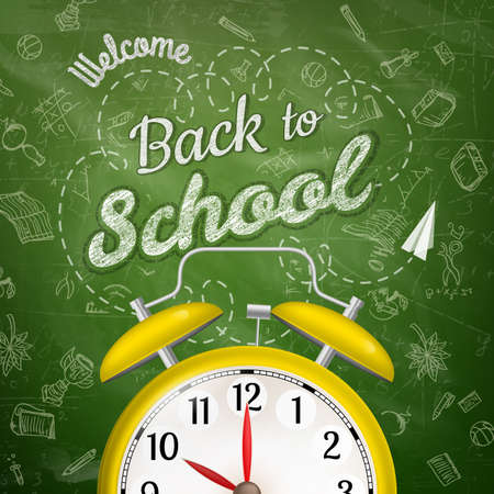 welcome symbol: Welcome back to school sale background with alarm clock.