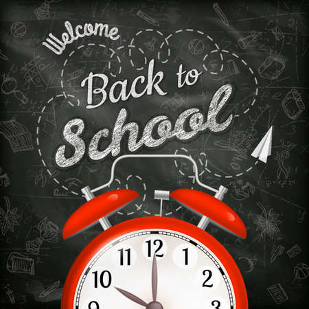 Welcome back to school sale background with alarm clock.