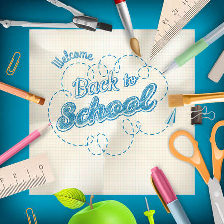back up: Back to school - School supplies over blue with copyspace.    Illustration
