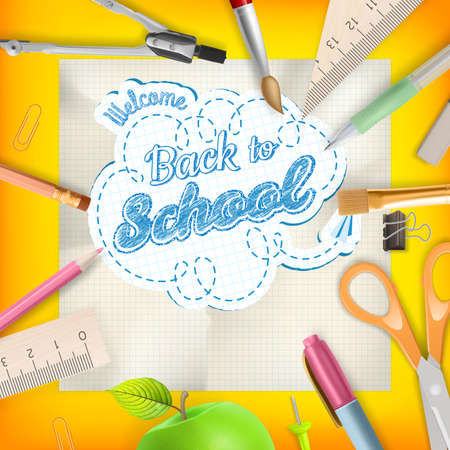 white back: Back to school - School supplies over orange with copyspace.
