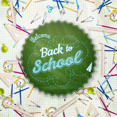 utiles escolares: Volver a la escuela de fondo. Vectores