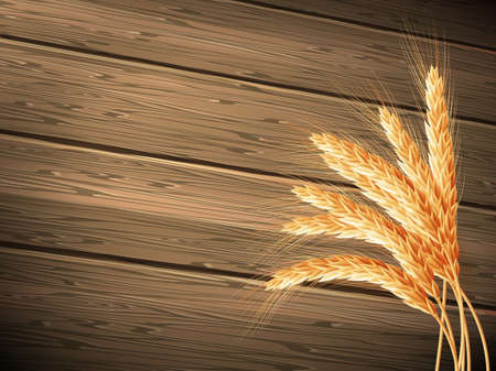 wood agricultural: Wheat on wooden background. EPS 10 vector file included