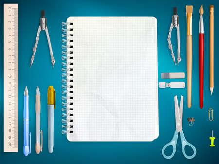 utiles escolares: Suministros de oficina de escuela en fondo azul.