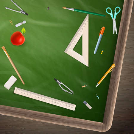 school of life: Back to school - blackboard education concept still life.