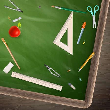 convivencia escolar: Volver a la escuela - concepto de educación pizarra naturaleza muerta. Vectores