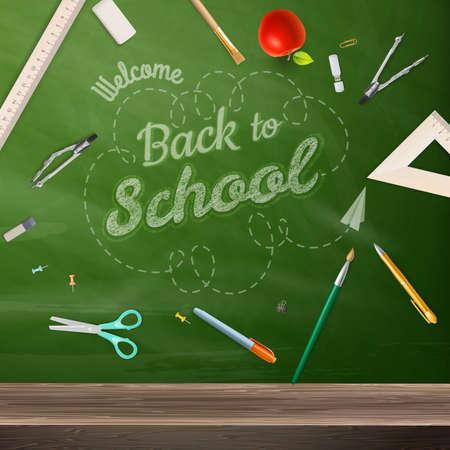 still: Back to school - blackboard education concept still life.    Illustration