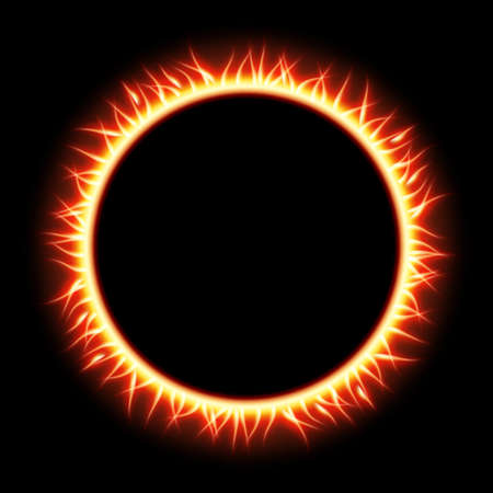gas fireplace: Abstract burning star circle view background