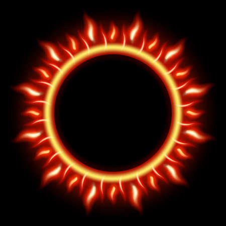 fire circle: Abstract Solar Eclipse burning fire circle. EPS 10 vector file included Illustration