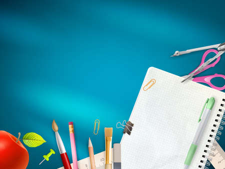 colour pencil: School office supplies on blue background.