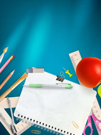 writing equipment: School office supplies on blue background.