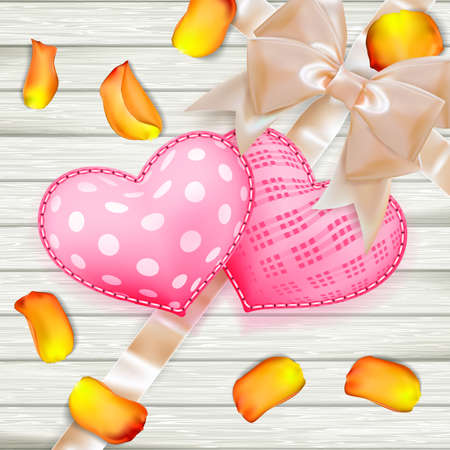 lovely couple: Heart shaped Valentines Day toys on old vintage wooden plates. Holiday background with rose petals. EPS 10 vector file included