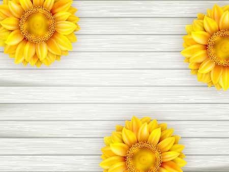 Ornamental Sonnenblumen auf Holzuntergrund. EPS 10 Vektor-Datei enthalten