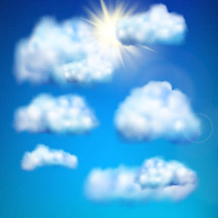 floats: Clouds floats in the sky against sun.  vector file included