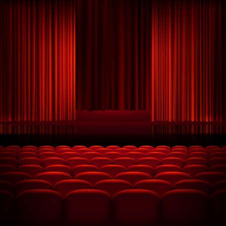 teatro: Teatro abierto cortinas rojas con luz y asientos. Archivo EPS 10 vector incluido