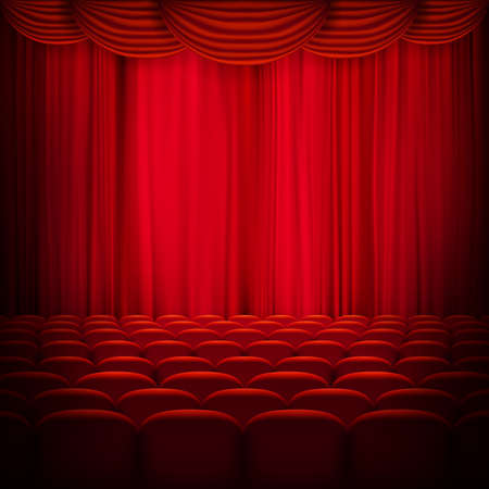 Red curtain template. EPS 10 vector file included