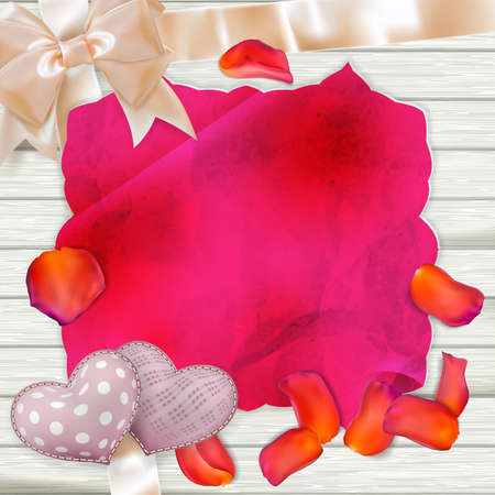 party down: Card and fresh tulips Petals on wooden background. EPS 10 vector file included