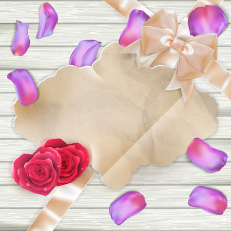 tage: Tulip flowers Petals and paper frame. EPS 10 vector file included