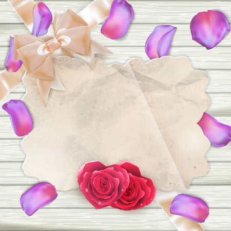 party down: Fresh tulips Petals and card on wooden background. EPS 10 vector file included
