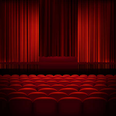 empty stage: Open theater red curtains with light and seats.