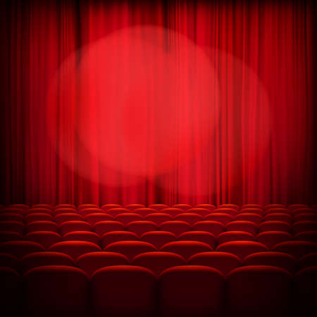 comedy show: Closed theater red curtains with spotlight and seats.