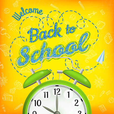 Welcome back to school sale background with alarm clock. EPS 10 vector file included
