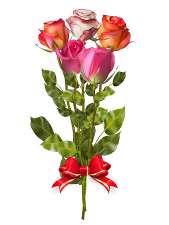 saint valentine s day: Bouquet of Roses with red bow. EPS 10 vector file included