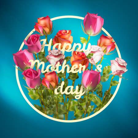 lizenzfrei: Happy Mothers Day roses design EPS 10 Vektor Stock Illustration f�r Gru�karten, Anzeige, Werbung, Plakat, Flugblatt, Blogs, Artikel, Social Media, Marketing