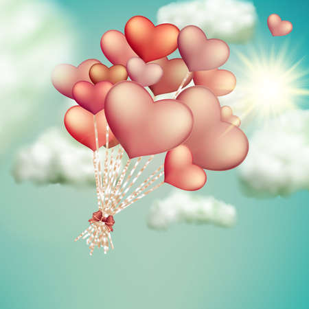 outdoor wedding: Retro love balloons on blue sky. EPS 10 vector file included