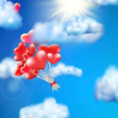 baloon: Heart-shaped baloon in the sky. EPS 10 vector file included Illustration
