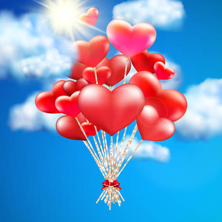 helium balloon: Heart-shaped baloon in the sky. EPS 10 vector file included Illustration