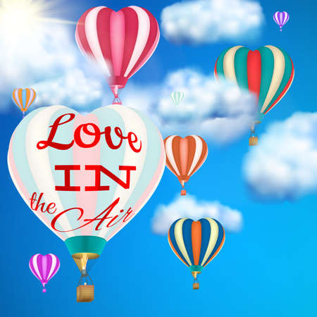 lovely couple: Hot air balloon with banner love in the air. EPS 10 vector file included Illustration